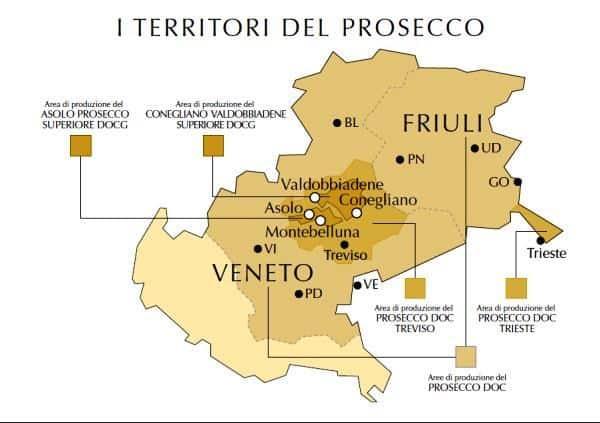 Las zonas del Prosecco